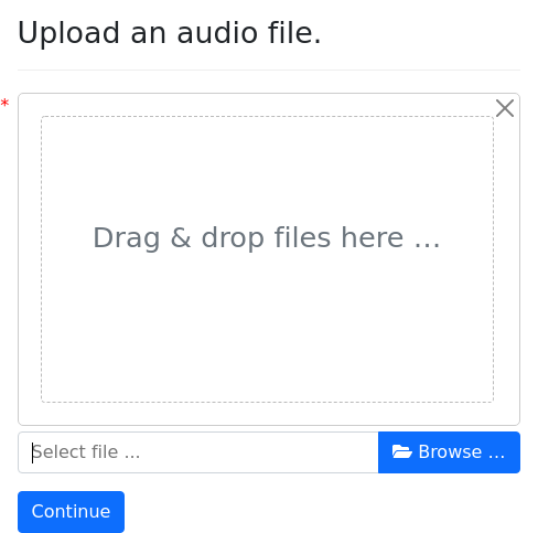 Screenshot of audio-upload example