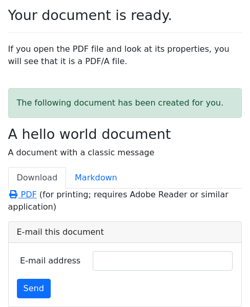 Screenshot of pdf-a example