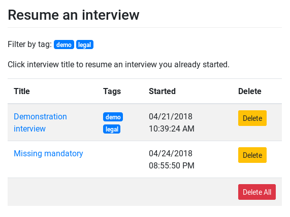 Screenshot of session-interview example