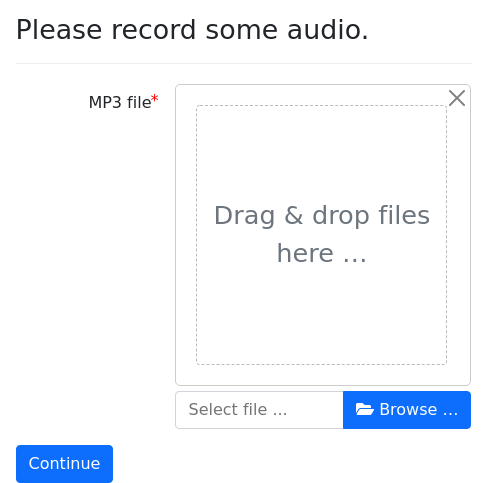 Screenshot of upload_audio example